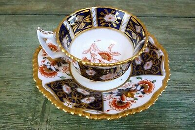 Antique 19Th C Coalport Cup & Saucer Imari Pattern Heavily Gilded C.1880S V.g.c