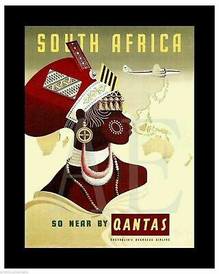 VP-348 Poster Art 8x10 ~ Travel South Africa Near By Qantas African Lady