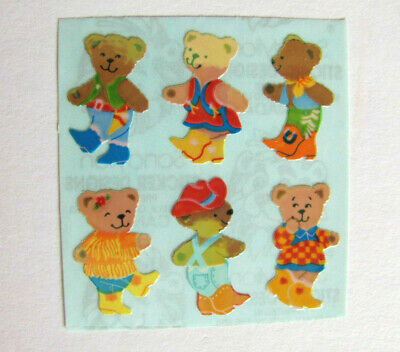 Rare Vintage Sandylion Pearly Pearl Opal Teddy Bear Sticker Mod Teddies on Blue