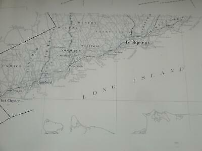 Large Stock Paper Wall Map Long Island Sound Connecticut Greenwich to Milford