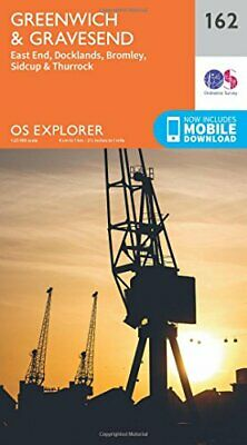 OS Explorer Map (162) Greenwich and Gravesend by Ordnance Survey Book The Cheap
