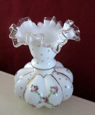 Vintage Fenton Hand Painted Milk Glass Vase Ruffled Top