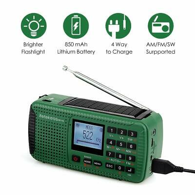 Retekess Portable AM/FM/SW Radio Rechargeable Solar SOS Emergency for Camping UK