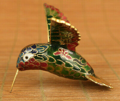 Antiques china old cloisonne hand carved hummingbird statue netsuke noble gift
