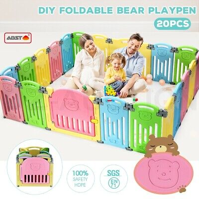 ABST 20 Panel Kids Baby Playpen Interactive Baby Room Foldable Safety Gates Bear