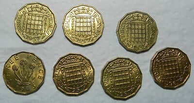 Great Britain : Lot Of 7 Old Brass Threepence - All With Lustre