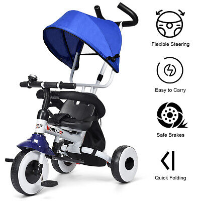 Kids Folding Tricycle Toddler Stroller 4-in-1 Learning Bike Ride on Trike Pram