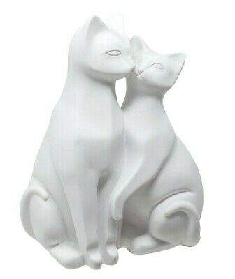 PAIR OF WHITE CATS ORNAMENT STYLIZED CAT FIGURINE - Ideal Gift For Cat Lovers
