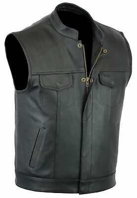 """Mens Son Of Anarchy Real Leather """" Cut Off """" Motorcycle Biker Waistcoat/Vest"""