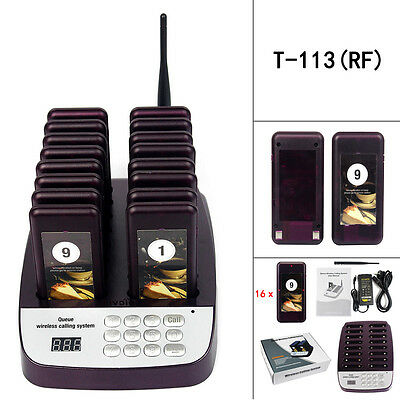 T113 Restaurant 999CH Wireless Paging Queuing System With 16*Coaster Pagers HOT