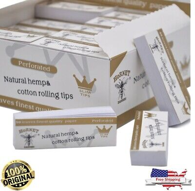 5x Hornet Natural White 60*21MM Unrefined Rolling Paper Filter Tips 50 Sheets
