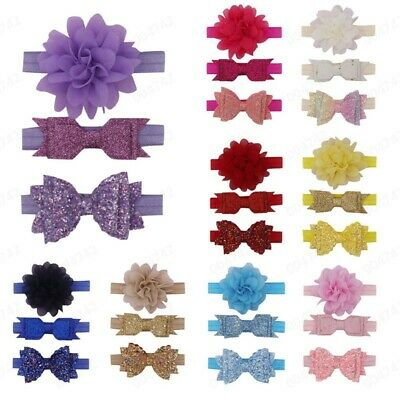 3Pc Newborn Kids Elastic Floral Headband Hair Girls baby Bowknot Hairband Set UK