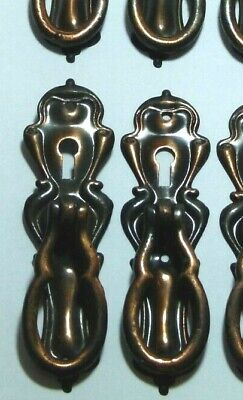 Set X 8 Antique Art Nouveau Coppered Steel Chest/Cupboard Door Pull Handle