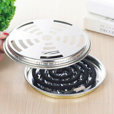 2x Stainless Mosquito Repellent Box Cover Coil Bracket Holder Incense Plate Safe