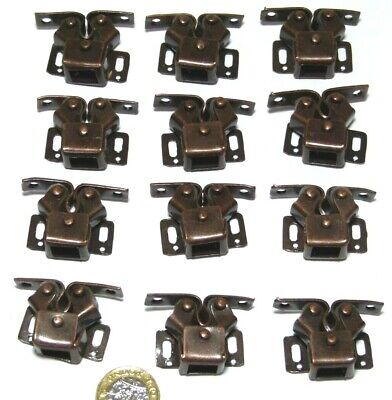 Splendid Set X 12 Double Roller Catch Spring Loaded Bronze/Coppered Finish