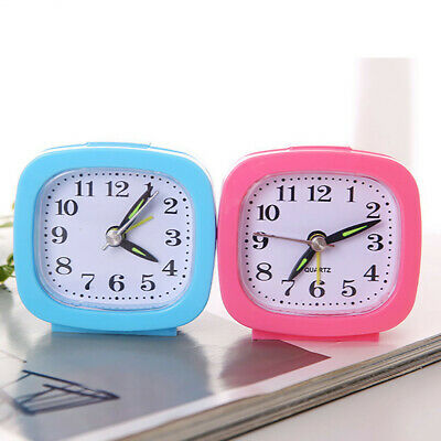 Square Small Bed Compact Travel Quartz Beep Alarm Clock Cute Portable Clock UK