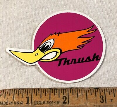 Vintage 1970's Thrush Exhaust Muffler Decal Sticker Label Made in Canada NOS