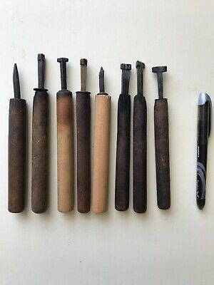 7 Vintage Bookbinding Hand Tools Brass Embossing Stamp Gilding Leather Work