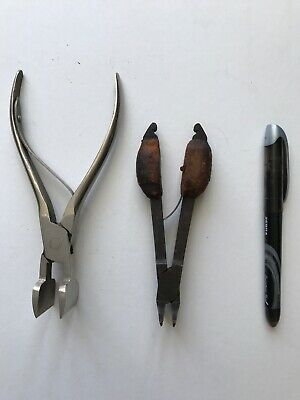 2 Vintage Antique Bookbinding Bookbinder Tools BAND NIPPERS LINING PLIERS PINCER