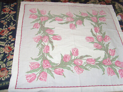 "Vintage chic kitchen tablecloth pink tulips spring flowers floral 48x50"" garden"