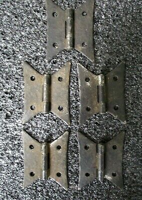 HAMMERED ARTS + CRAFTS STYLE BUTTERFLY HINGES BLACK IRON FLUSH MOUNT lot of 5