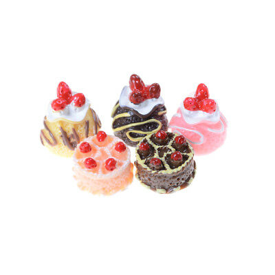 5x Dessert 3D Resin Cream Cakes Miniature food Dollhouse Accessories cw
