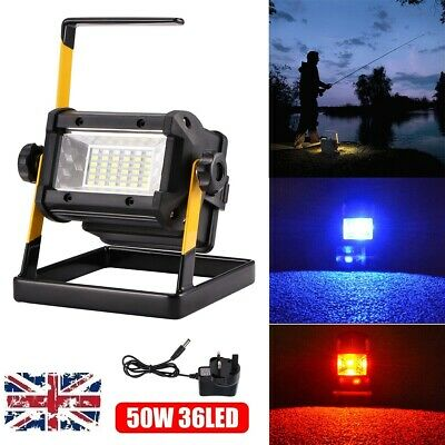 Portable 50W 36LED Spot Flood Light Work Lamp Rechargeable Camping Waterproof UK