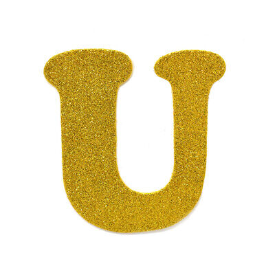 "EVA Glitter Foam Letter Cut Out ""U"", Gold, 4-1/2-Inch, 12-Count"