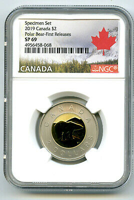 2019 Canada $2 Ngc Sp69 First Releases Frosted Two Dollar Toonie Rare !