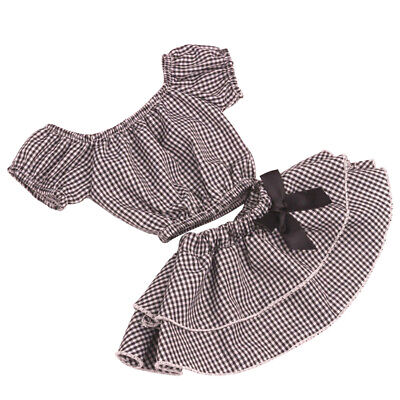 18inch Handmade Checked Top T-shirt Skirt Set American Doll Matching Outfits
