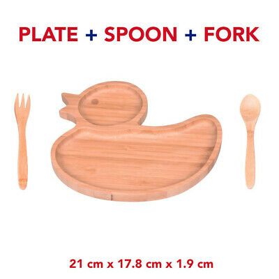Bamboo Baby Toddler / Wood Duck Plate Stay Put Feeding Plate Natural