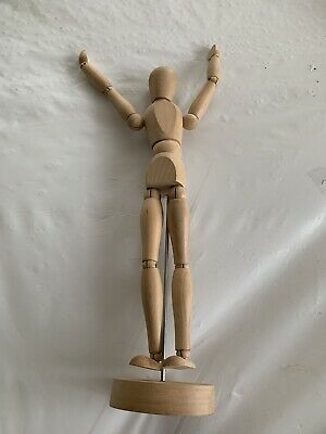 Vintage Articulated Wood Artist Model Mannequin w Stand