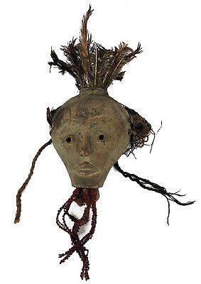 Lega Mask with Feathers Bwami Society Congo African Art SALE WAS $350.00