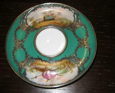 Antique French SEVRES Style Solid Silver Mounted Porcelain Saucer