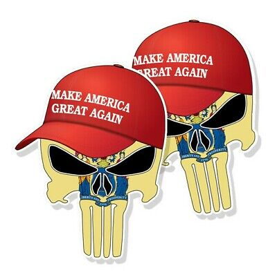 "TRUMP PUNISHER STICKERS New Jersey State Flag MAGA Hat Decals 3"" tall 2-pack"