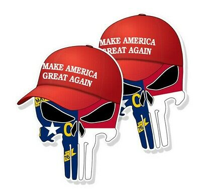 "TRUMP PUNISHER STICKERS North Carolina State Flag MAGA Hat Decals 3"" tall 2-pack"