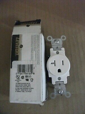 Levition White TR Single Receptacle T5020-W 20A 125V Back and Side Wired+