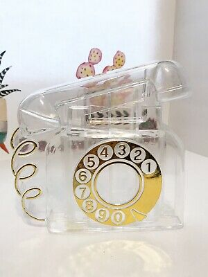 Vintage Clear Lucite Piggy Bank Coin Sorter Rotary Phone