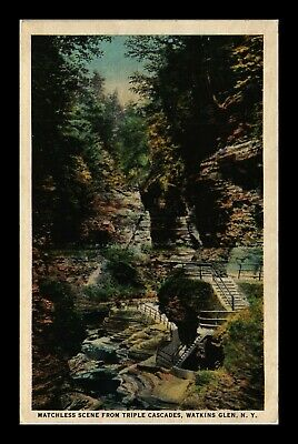 Dr Jim Stamps Us Triple Cascades Watkins Glen New York Postcard 1924