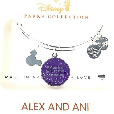 Disney Alex and Ani Purple Believing is Just the Beginning Silver Bracelet