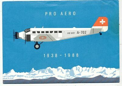 TIMBRE AVION AVIATION SUISSE 50 ANNI PRO AERO SUPER ENVELOPE AVEC 4 FDC 1er JOUR
