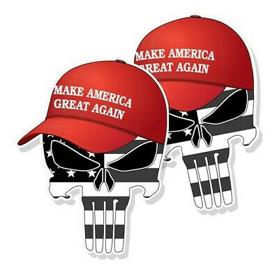 "TRUMP PUNISHER STICKERS Subdued American Flag MAGA Hat Decals 5"" tall 2-pack"