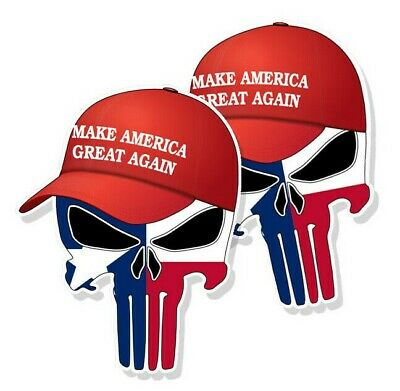 "TRUMP PUNISHER STICKERS Texas State Flag MAGA Hat Decals 3"" tall 2-pack"