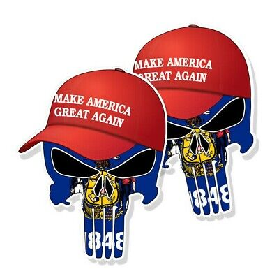 "TRUMP PUNISHER STICKERS Wisconsin State Flag MAGA Hat Decals 3"" tall 2-pack"