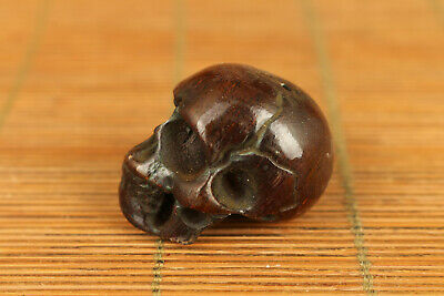 old yak horn hand carved skull statue collect netsuke bead gift