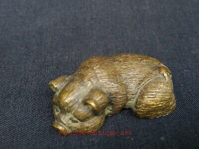 Collect Ancient Chinese Bronze Carving Zodiac Pig Statue Paperweight Decoration