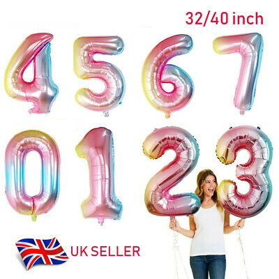 Large number Foil Ballons birthday party balloons 0 1 2 3 4 5 6 7 8 9 Baloons UK