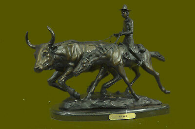 Handmade Art Western Old West Cowboy on Horse with Cattle Handcrafted Figure