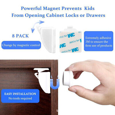 10 Locks 2 Keys Invisible Magnetic Baby Child Pet Proof Cupboard Door DrawerSafe