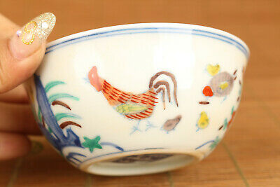 Old jingdezhen porcelain hand painting cock statue tea cup bowl art gift